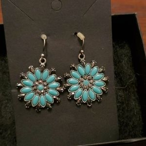 SILVER-PLATED TURQUOISE  FASHION EARRINGS